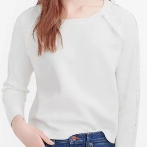 J Crew White Scalloped Crewneck Sweater large